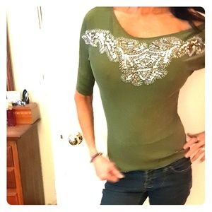 BEBE beaded and sequined knit top